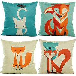 HOSL SD04 Fox Throw Pillow Case Decorative Cushion Cover Pil