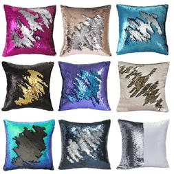 Sequins Pillow Cover Mermaid Glitter Case Waist Throw Sofa C