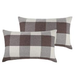 set of 2 brown buffalo check plaid