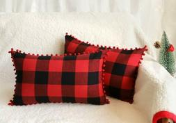 set of 2 christmas buffalo check plaid