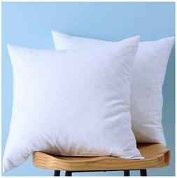 Set Of 2, Cotton Fabric Two Pillow Inserts, Down And Feather