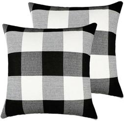 Set of 2 Farmhouse Buffalo Check Plaid Throw Pillow Covers C