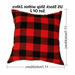 Set of 2 Farmhouse Buffalo Checkers Plaid Cotton Throw Pillo
