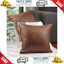 Set Of 2 Faux Leather Modern Square Throw Pillow Covers Cush