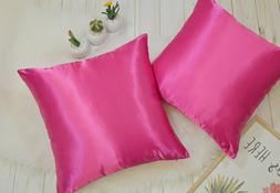 High Quality Colorful Shiny Satin Pillow COVER, Multi-Color