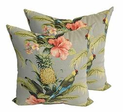 Set of 2-In/Outdoor ative Throw Pillows-Grey/Gray Yellow Pin