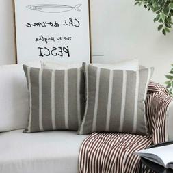 HOME BRILLIANT Set of 2 Lace Striped Decorative Throw Pillow