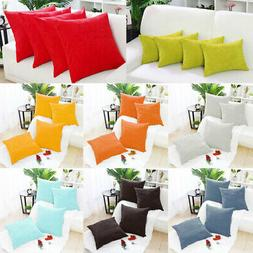 Set of 4 Corduroy Waist Throw Pillow Case Cushion Covers Hom