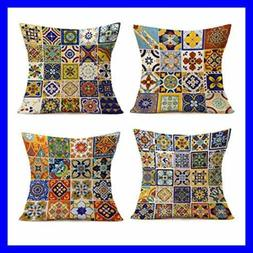Set Of 4 Cotton Linen Throw Pillow Covers18X18 InchMexic
