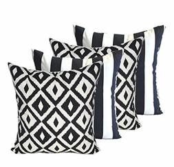 Set of 4 In/Outdoor Square ative Throw Pillows - Black & Whi