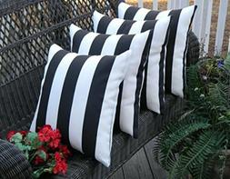 Set of 4 - Indoor/Outdoor Decorative Throw Pillows Striped F