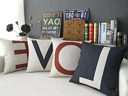 set of 4 love throw pillow cover