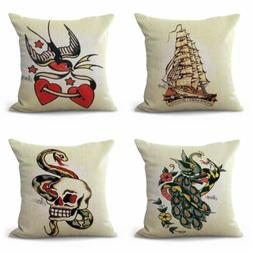 set of 4 Sailor Jerry tattoo pillows and throws for couches