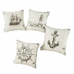 CaliTime Set of 4 Soft Canvas Throw Pillow Covers Cases for