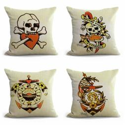 set of 4 throw pillows couch Sailor Jerry tattoo cushion cov