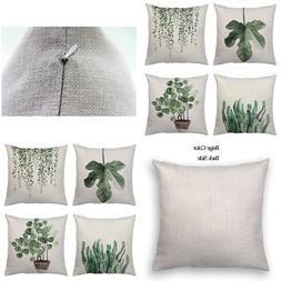 Set Of 4Pcs GREEN Leaf Plants Throw Pillow Covers Tropical F