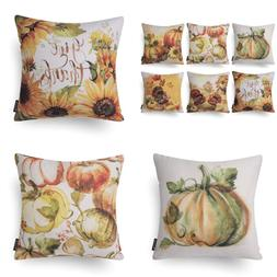 Set Of 6 Fall Thanksgiving Turkey Pumpkin Throw Pillow Case