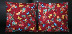 Set of Handmade Throw Pillows 16x16 Red, Blue, Yellow Flower