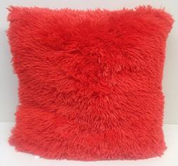 Set of 2 Large Shaggy Faux Fur Throw Pillows, 20 inches by 2