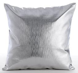 Silver Pillows Cover, Metallic Silver Solid Color Club & Lou