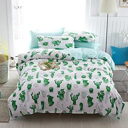 Hxiang Simple Cactus Bedding Children's cartoon Duvet Cover