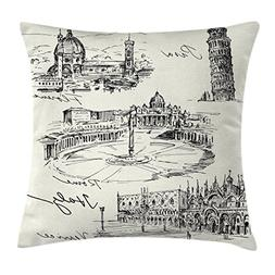Sketchy Throw Pillow Cushion Cover by Ambesonne, Travel the