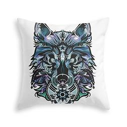 Society6 Snow Wolf Throw Pillow Indoor Cover  with pillow in