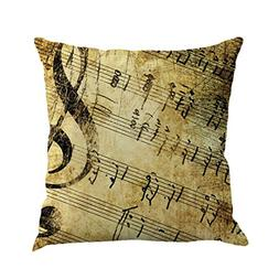 Sofa Waist Throw Pillow Case,FUNIC Musical Note Painting Lin
