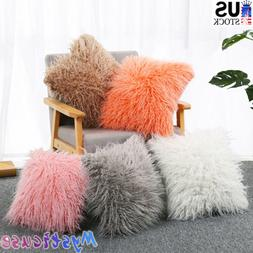 Soft Fluffy Faux Fur Plush Throw Pillow Cases Shaggy Chair S