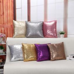 Solid Glitter Sequins Throw Pillow Case Cafe Home Decor Cush