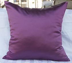 TangDepot Solid Heavy Satin Decorative Throw Pillow Cover, P