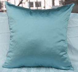 TangDepot Solid Heavy Satin Decorative Throw Pillow Cover, E