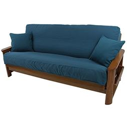"""Blazing Needles Solid Twill 8"""" to 9"""" Futon Cover Set with 2"""