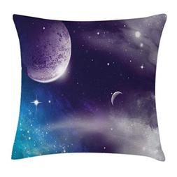 Ambesonne Space Throw Pillow Cushion Cover, Universe with Pl