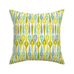 Spoons Kitchen Cooking Throw Pillow Cover w Optional Insert