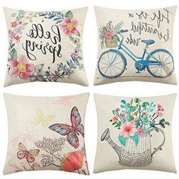 Anickal Spring Decorations Set of 4 Decorative Pillow Covers