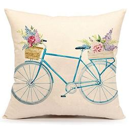 Decorbox Spring Flower Floral Bicycle Pattern 18x18 Inch Cot