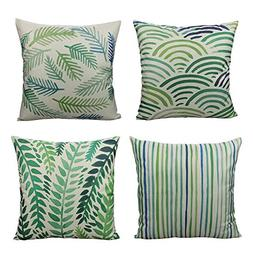 All Smiles Outdoor Green Leaves Plant Throw Pillow Covers Ca