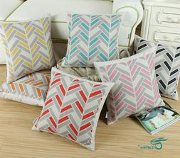 CaliTime Square Cushion Throw Pillow Covers Shell Stripe Geo