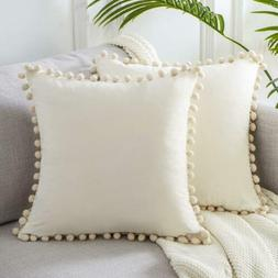 Top Finel Square Decorative Throw Pillow Covers Soft Velvet