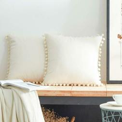 Top Finel Decorative Throw Pillow Covers with Pom-poms Soft
