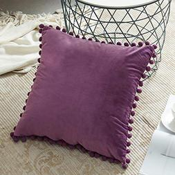 Top Finel Square Decorative Throw Pillow Covers with Pom Pom