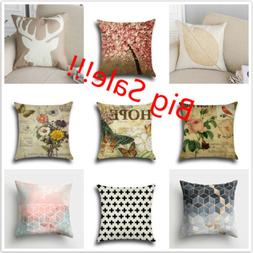 Square Home Decorative Cotton Linen Pillow Case Sofa Waist T