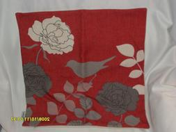 CaliTime Square Throw Pillow Cover Florals Shadow Bird  Red