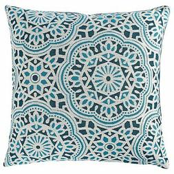 "Stone  Beam Medallion Pillow, 17"" x 17"", Aqua"