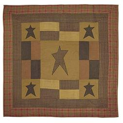 STRATTON Twin Quilt Patchwork Applique Star Tan/Olive/Red Ru