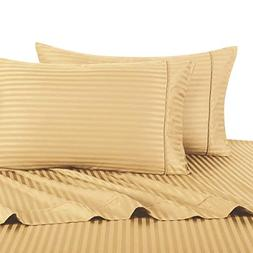 Stripe Gold Queen Size Sheets, 4PC Bed Sheet Set, 100% Cotto