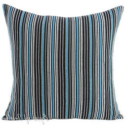 "Eyes of India 24"" Black Blue Big Striped Dhurrie Colorful De"