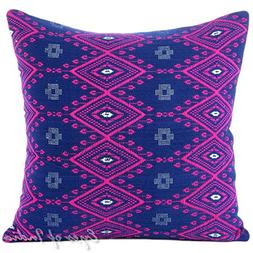 "Eyes of India 16"" Pink Blue Purple Large Striped Dhurrie Col"