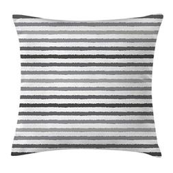 Ambesonne Striped Throw Pillow Cushion Cover, Gray and White